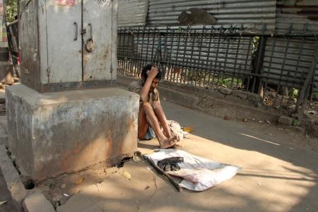 beggars: KOLKATA - NOVEMBER 28  Streets of Kolkata  Thousands of beggars are the most disadvantaged castes living in the streets on November 28, 2012 in Kolkata, India