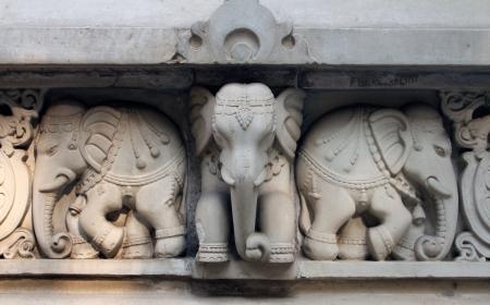 kolkata: Stone carvings in Hindu temple Birla Mandir in Kolkata, India Stock Photo