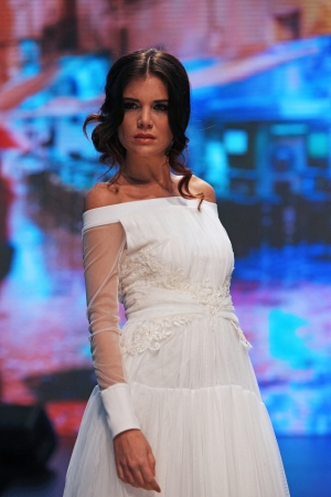 elf's: Fashion model wears dress made by ELFS on  Wedding days  show, October 04, 2013 in Zagreb, Croatia