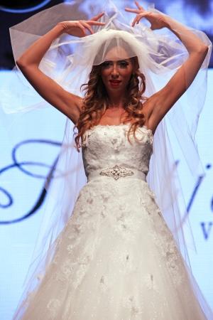 ZAGREB, CROATIA - OCTOBER 04: Fashion model wears dress made by Katjusha on Wedding days show, October 04, 2013 in Zagreb, Croatia. Editorial