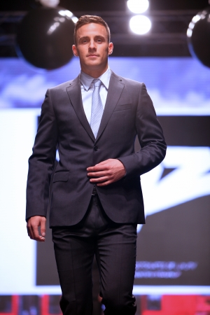 Model walks the runway at XYZ collection presentation on  Wedding days  show, October 04, 2013 in Zagreb, Croatia  Editorial