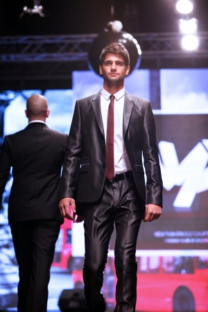 xyz: Model walks the runway at XYZ collection presentation on  Wedding days  show, October 04, 2013 in Zagreb, Croatia  Editorial