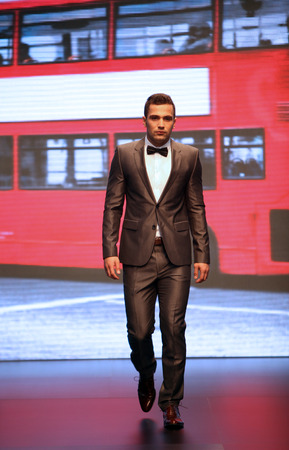 xyz: Model walks the runway at XYZ collection presentation on Wedding days show, October 04, 2013 in Zagreb, Croatia.