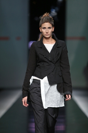 Fashion model wearing clothes designed by Link on the  Fashion hr  show on October 17, 2013 in Zagreb, Croatia