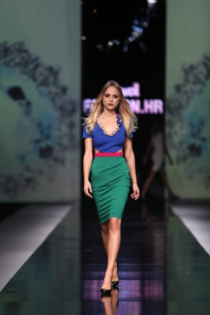 Fashion model wearing clothes designed by Martina Felja on the  Fashion hr  show on October 17, 2013 in Zagreb, Croatia