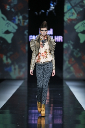 ZAGREB, CROATIA - OCTOBER 17  Fashion model wearing clothes designed by Zoran Aragovic on the