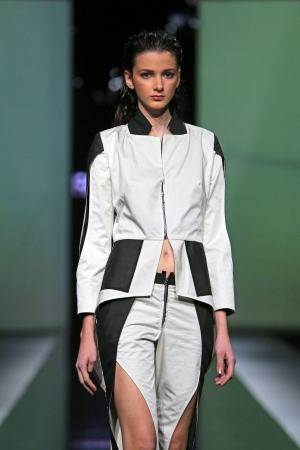Fashion model wearing clothes designed by Ana Maria Ricov on the  Fashion hr  show on October 18, 2013 in Zagreb, Croatia
