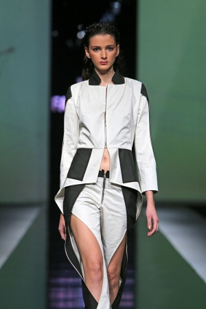 ZAGREB, CROATIA - OCTOBER 18: Fashion model wearing clothes designed by Ana Maria Ricov on the Fashion.hr show on October 18, 2013 in Zagreb, Croatia.