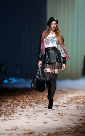 elf's: Fashion model wearing clothes designed by Elfs on the Cro a Porter show on October 24, 2013 in Zagreb, Croatia
