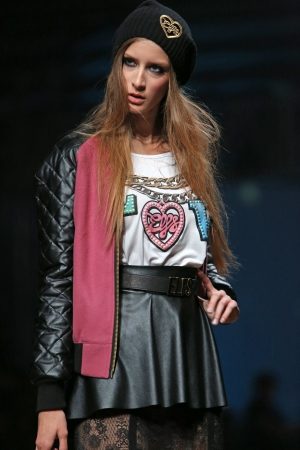Fashion model wearing clothes designed by Elfs on the Cro a Porter show on October 24, 2013 in Zagreb, Croatia