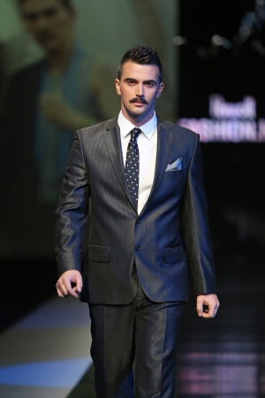 boris: Fashion model wearing clothes designed by Boris Banovic on the  Fashion hr  show on October 18, 2013 in Zagreb, Croatia