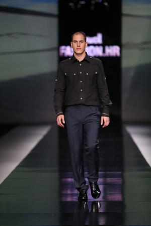 Fashion model wearing clothes designed by Ivica Klaric on the  Fashion hr  show on October 19, 2013 in Zagreb, Croatia