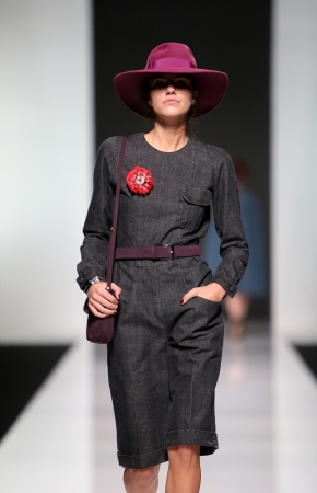 sever: Fashion model wearing clothes designed by Robert Sever on the  Fashion hr  show on October 19, 2013 in Zagreb, Croatia  Editorial