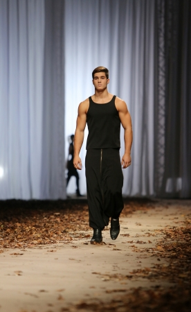 Fashion model wearing clothes designed by Maja Podrug on the Cro a Porter show on October 24, 2013 in Zagreb, Croatia.