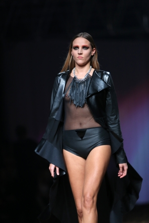 Fashion model wearing clothes designed by Marina Jerant and Manuela Lovrencic on the Cro a Porter show on October 24, 2013 in Zagreb, Croatia. Stock Photo - 23751496