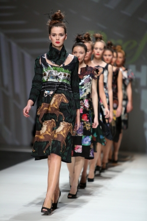 Fashion model wearing clothes designed by Ana Kujundzic on the Zagreb Fashion Week show on November 22, 2013 in Zagreb, Croatia