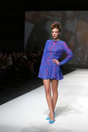 Fashion model wearing clothes designed by Vjera Vilicnik on the Zagreb Fashion Week show on November 23, 2013 in Zagreb, Croatia.