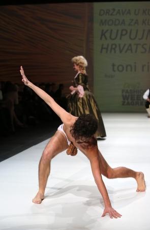 Fashion performance by Tony Rico on the Zagreb Fashion Week show on November 23, 2013 in Zagreb, Croatia.