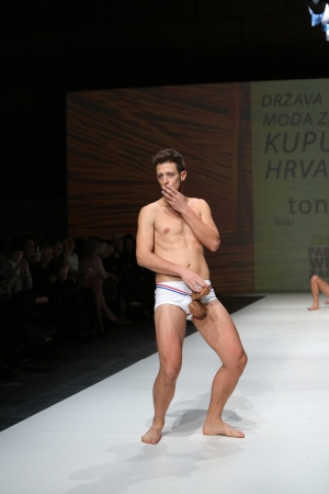 Fashion performance by Tony Rico on the Zagreb Fashion Week show on November 23, 2013 in Zagreb, Croatia.