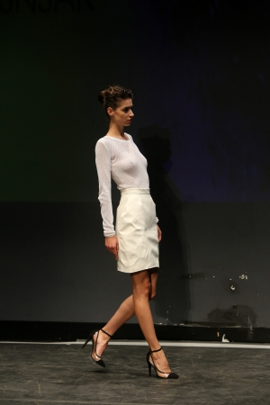 Fashion model wearing clothes designed by Nives Bosnjak on the Fashion Wardrobe show on November 07, 2013 in Zagreb, Croatia.