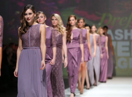 Fashion model wearing clothes designed by Natalija Smogor on the Zagreb Fashion Week show on November 21, 2013 in Zagreb, Croatia.