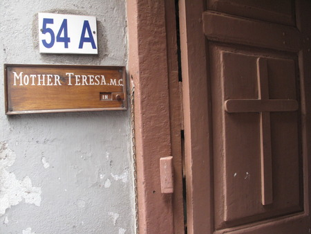 Sign on the entrance to Mother House, the residence of Mother Teresa in Kolkata, West Bengal, India on Jan 23,2009