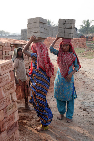 third world economy: Brick field workers carrying complete finish brick from the kiln on January 16, 2009 in Sarberia, West Bengal, India Editorial
