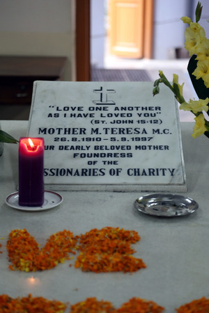 Tomb of Mother Teresa, decorated with fresh flowers in Kolkata, West Bengal, India on Nov 25,2012