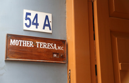 Sign on the entrance to Mother House, the residence of Mother Teresa in Kolkata, West Bengal, India on February 07,2014