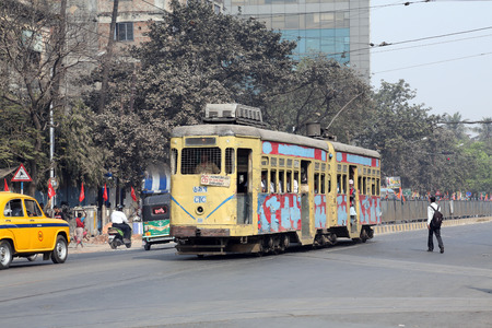 Traditional tram downtown Kolkata on February 08, 2014  Kolkata is the only Indian city with a tram network, which is operated by the Calcutta Tramways Comp