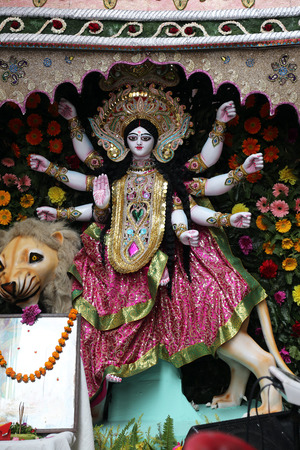 devoted: Goddess Durga is popular amongst Hindu Bengalis, and is worshipped with enthusiasm by her devoted followers