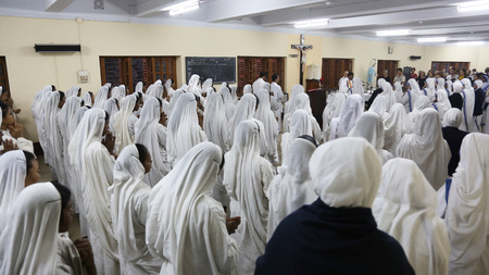 Sisters of The Missionaries of Charity of Mother Teresa at Mass in the chapel of the Mother House, Kolkata, India at February 15, 2014