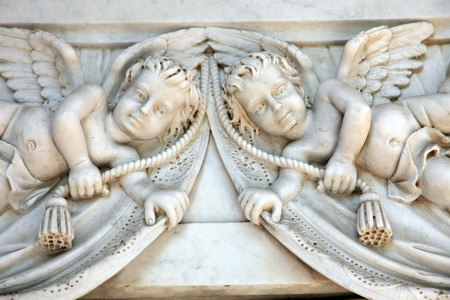 Angels at Mirogoj cemetery, Zagreb, Croatia photo