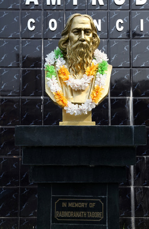 tagore: Monument of Rabindranath Tagore on February 10, 2014 in Kolkata, India, he became the first non-European to win the Nobel Prize in Literature in 1913