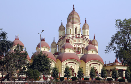 dome of hindu temple: Dakshineswar Kali Temple in Kolkata on February 14, 2014  The beautiful temple was built in Bengal architecture style in 1855