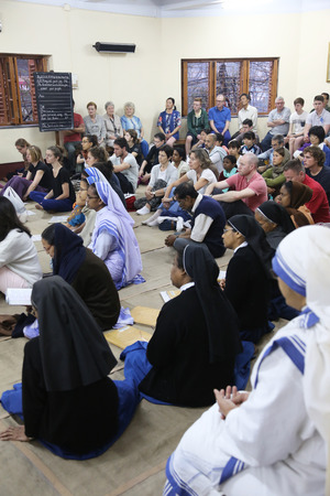 Sisters of Mother Teresa s Missionaries of Charity and volunteers from around the world at the Mass in the chapel of the Mother House, Kolkata, India at February 15, 2014