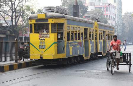 Traditional tram downtown Kolkata on February 15, 2014  Kolkata is the only Indian city with a tram network, which is operated by the Calcutta Tramways Comp