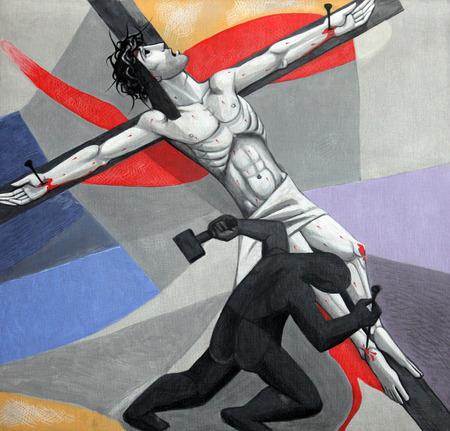 11e Stations van het Kruis, Kruisiging Jezus wordt aan het kruis genageld in de Kerk van de Heilige Drie-eenheid in het Beierse dorp Gemünden am Main, in het bisdom Würzburg