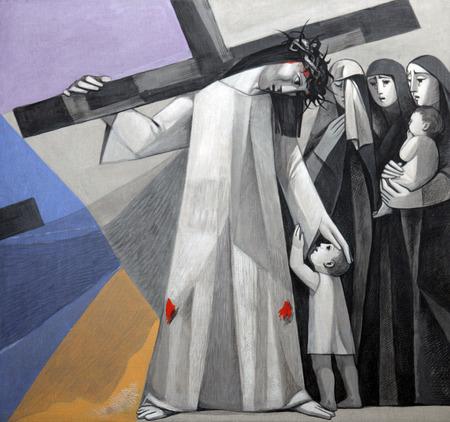8 Stations van het Kruis, Jezus voldoet aan de dochters van Jeruzalem, in de Kerk van de Heilige Drie-eenheid in het Beierse dorp Gemünden am Main, in het bisdom Würzburg