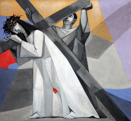 3 stazioni della via Crucis, Gesù cade per la prima volta nella chiesa della Santissima Trinità nel villaggio bavarese di Gemünden am Main, nella diocesi di Würzburg Archivio Fotografico - 27851262