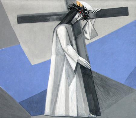 2 ° stazioni della via Crucis, Gesù è dato la sua croce nella chiesa della Santissima Trinità nel villaggio bavarese di Gemünden am Main, nella diocesi di Würzburg Archivio Fotografico - 27851263