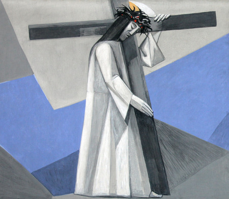 viernes santo: Estaciones segundo de la Cruz, Jesús es dada su Cruz en la Iglesia de la Santísima Trinidad en el pueblo bávaro de Gemünden am Main, en la diócesis de Würzburg