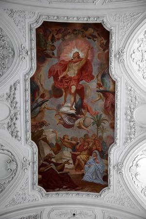 Risen Christ, fresco painting in the Neumunster Collegiate Church in Wurzburg