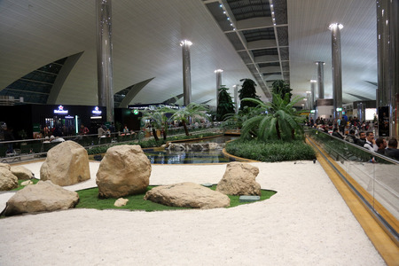 throughput: Recreation area in International airport on February 18, 2012 in Dubai, UAE  The airport is major aviation hub in the Middle East with max throughput of 80 millions passengers per year