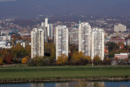 zagreb: Aerial view of Zagreb Editorial