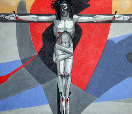 viernes santo: Estaciones 12º de la Cruz, Jesús muere en la cruz en la iglesia de la Santísima Trinidad en el pueblo bávaro de Gemünden am Main