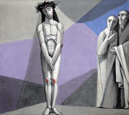 10 staties van de kruisweg, Jezus is ontdaan van zijn kleding in de Kerk van de Heilige Drie-eenheid in het Beierse dorp Gemunden am Main