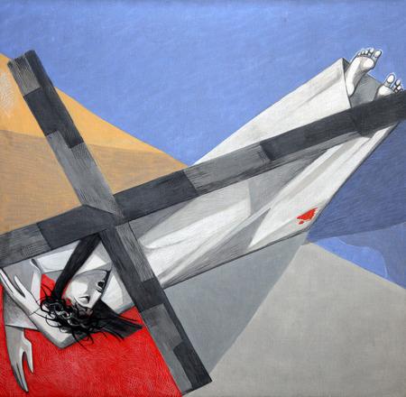 viernes santo: Estaciones novena de la Cruz, Jesús cae por tercera vez en la Iglesia de la Santísima Trinidad en el pueblo bávaro de Gemünden am Main Editorial