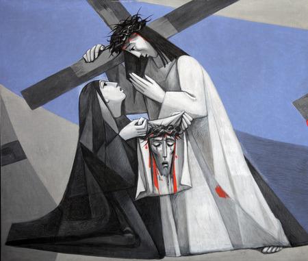 viernes santo: Sexto Estaciones de la Cruz, La Verónica enjuga el rostro de Jesús en la Iglesia de la Santísima Trinidad en el pueblo bávaro de Gemünden am Main