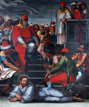 flagellation: Passion of Jesus, painting on the church altar in the Neumunster Collegiate Church in Wurzburg